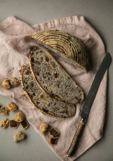 Sourdough bread with figs and walnuts